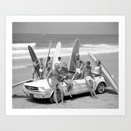 Vintage Beach Party Mustang Art Print