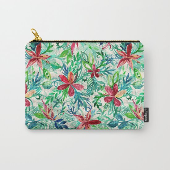 Vintage Tropical Floral - a watercolor pattern Carry-All Pouch
