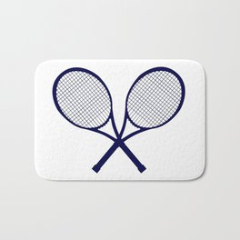 Crossed Rackets Silhouette Bath Mat