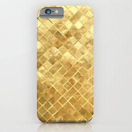 Ancient Egyptian Golden Gilded Checkerboard Pattern iPhone Case
