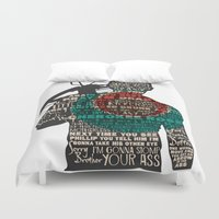 daryl Duvet Covers featuring Daryl Dixon with Quotes by rlc82