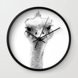 Black and White Ostrich Illustration Wall Clock
