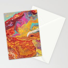 Fiery Mountain // Paint Pour Art // Blooming Life Project Stationery Cards