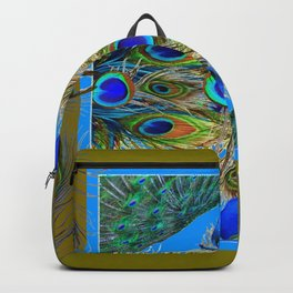 BLUE PEACOCKS KHAKI COLOR  FEATHER PATTERNS ART Backpack