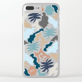 Minimal Shapes Taupe Blues Skintones Fall Leaf Pattern Digital Clear iPhone Case