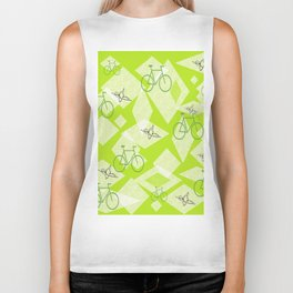 Bicycles and Butterflies Green Biker Tank