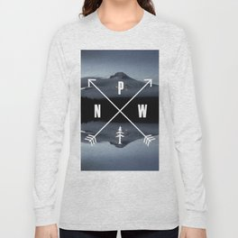 PNW Pacific Northwest Compass - Mt Hood Adventure Long Sleeve T-shirt