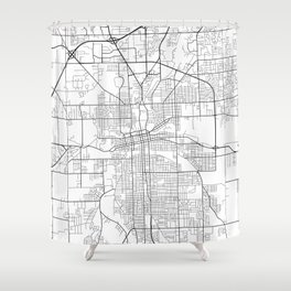 Fort Wayne Map, USA - Black and White Shower Curtain