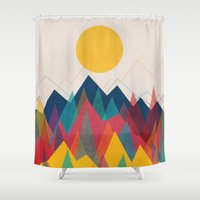 mountains Shower Curtains featuring Uphill Battle by Picomodi