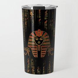 Egyptian  Sphinx on hieroglyphics red crystal and gold Travel Mug