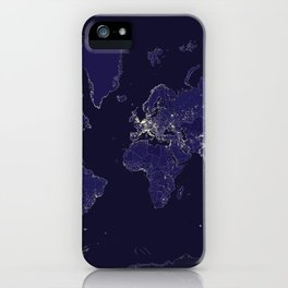 The world map at night with outlined countries iPhone Case