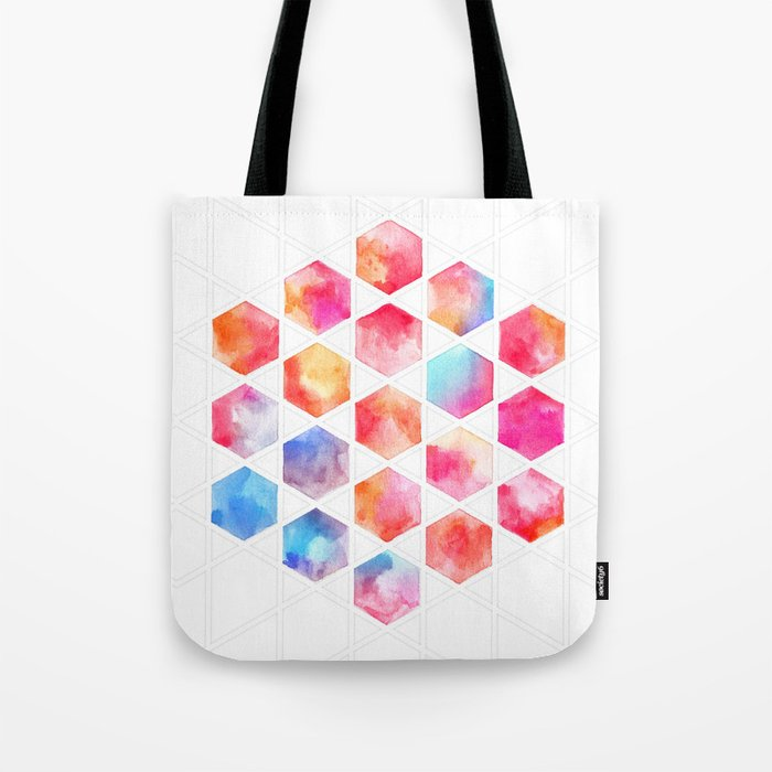 Radiant Hexagons - geometric watercolor painting Tote Bag