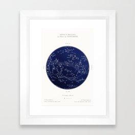French November Star Map in Deep Navy & Black, Astronomy, Constellation, Celestial Framed Art Print