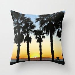HB Palms & Sunset Throw Pillow