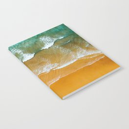Ocean Waves Crushing On Beach, Drone Photography, Aerial Photo, Ocean Wall Art Print Decor Notebook