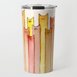 Cats Autumn Colors Pattern Whimsical Cat Orange Red Yellow Animals Travel Mug