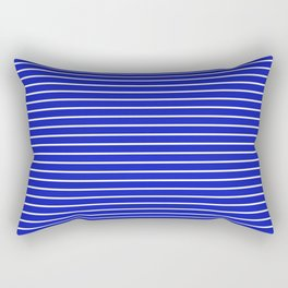 Royal Blue and White Horizontal Stripes Rectangular Pillow