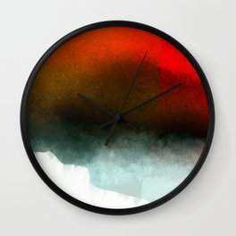 Red, Teal and White Abstract Wall Clock