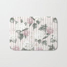Bohemian pastel pink green floral stripes pattern Bath Mat