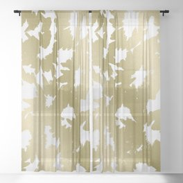 Gold Flowers Sheer Curtain