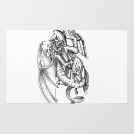 Tattoo style illustration of a sheepdog or herding dog protecting a lamb from a wolf with shepherd i Rug