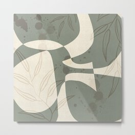 Abstract - Vase Shapes in Artichoke Green Metal Print