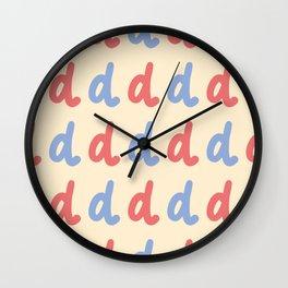 Minuscule Letter D Pattern Wall Clock