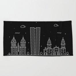 Lima Minimal Nightscape / Skyline Drawing Beach Towel