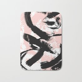 Black Brush strokes Bath Mat
