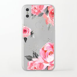 bright rose on white Clear iPhone Case