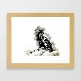 Watercolor Crow, Black and White Crow, Crow Painting, Cool Crow, Ink Crow Framed Art Print