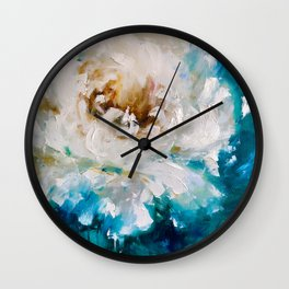 Open bud of white peony Wall Clock