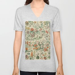 Wildflowers and Roses // Fleurs III by Adolphe Millot XL 19th Century Science Textbook Artwork Unisex V-Neck