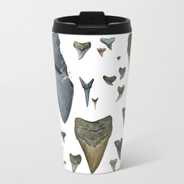 Fossil shark teeth watercolor Travel Mug