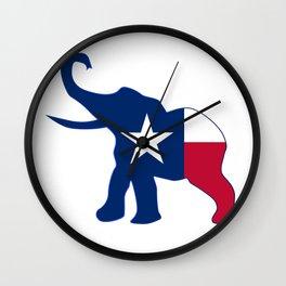 Texas Republican Elephant Flag Wall Clock