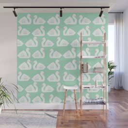 Swan minimal pattern print mint and white bird illustration swans nursery decor Wall Mural