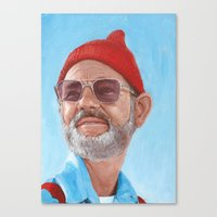 steve zissou Canvas Prints featuring Steve Zissou by BookOfFaces