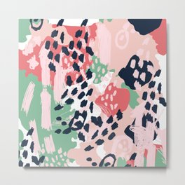 Leia - abstract painting cute minimal navy coral mint pastels painterly boho chic decor Metal Print
