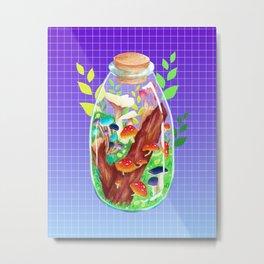 Magic Mushroom Forest Terrarium Metal Print