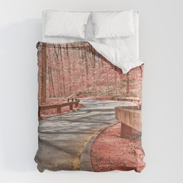 Opalescent Forest Road Comforters