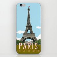 travel poster iPhone & iPod Skins featuring Paris 2 Travel Poster by Michael Jon Watt