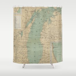 Vintage Lake Michigan Lighthouse Map 1898 Shower Curtain
