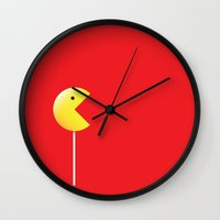 pac man Wall Clocks featuring Pac-Man by Tony Vazquez