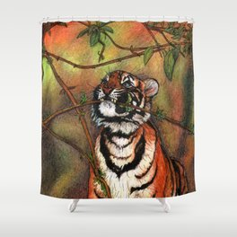 Baby tiger is playing Shower Curtain