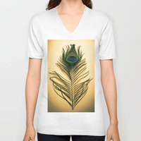 peacock feather V-neck T-shirts featuring Peacock Feather by Yorkwaypictures