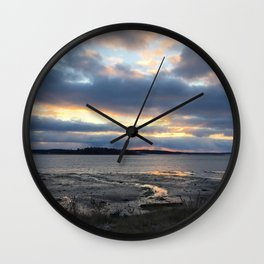 Perfect Sunset over Half Moon Cove Wall Clock