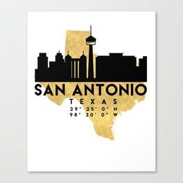 SAN ANTONIO TEXAS SILHOUETTE SKYLINE MAP ART Canvas Print