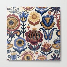 Floral Pattern, Folk Style Metal Print