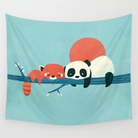 pandas Wall Tapestries featuring Pandas by Jay Fleck