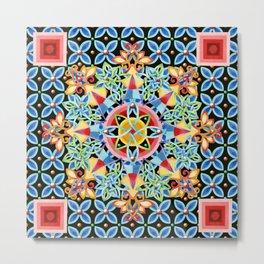 Cosmic Ombre Mandala Metal Print